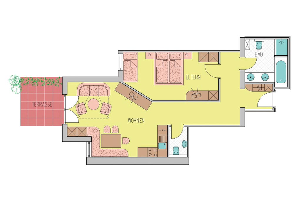 Family- & Nature Hotel Darrehof | Floorplan Nature Apartment Lavendel