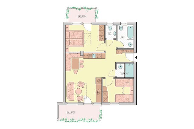 Family- & Nature Hotel Darrehof | Layout Nature Apartment Melisse/Minze